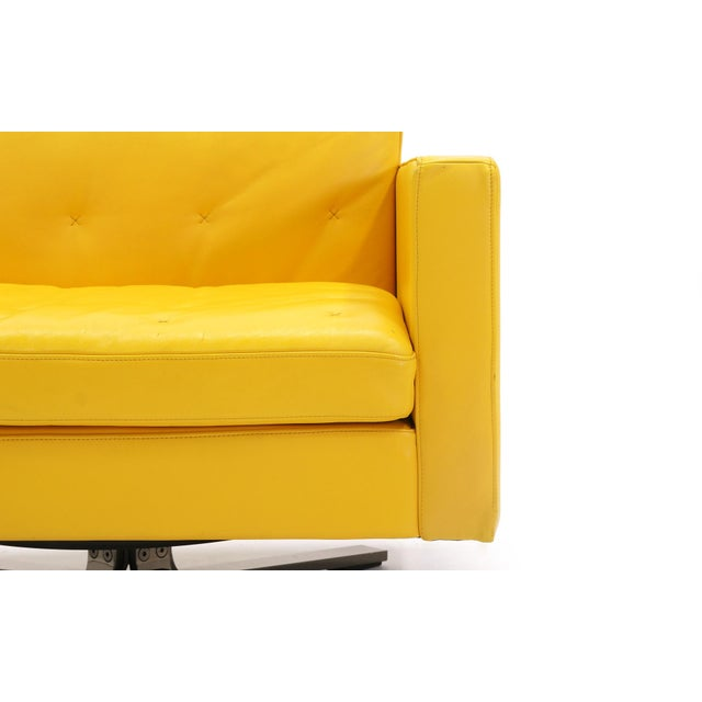 Poltrona Frau Yellow Leather Memory Swivel Lounge Chair - Image 10 of 11