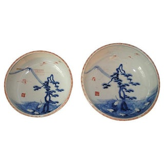 Blue & White Antique Chinese Bowls - Pair