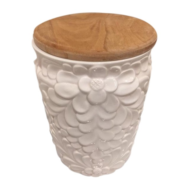Italian White Ceramic Jar & Wood Lid - Image 1 of 4