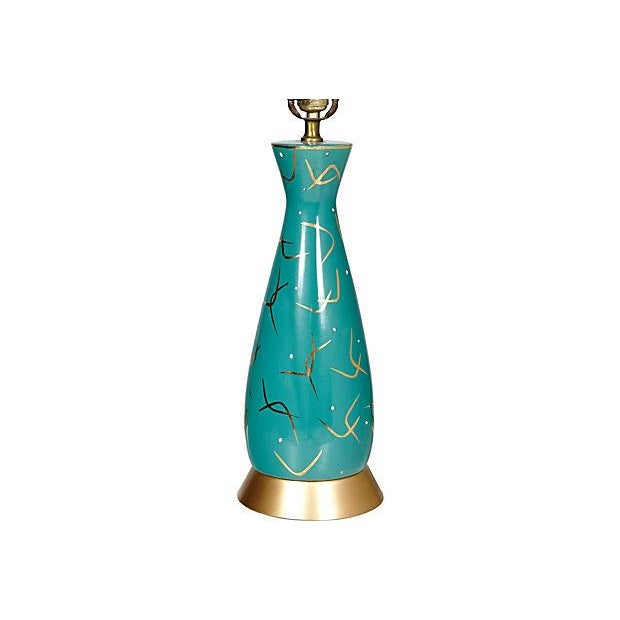 1950s Turquoise & Gilt Table Lamp - Image 3 of 4