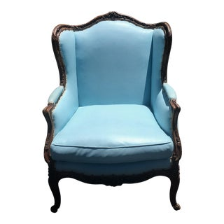 Antique French Louis XV Style Blue Leather Wing Back Chair