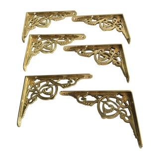 New Bistro Style Brass Shelf Brackets - S/6