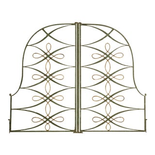 Original Pair of Vintage French Iron and Steel Gates/Firescreen