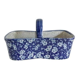 Blue Chintzware Handled Ceramic Basket