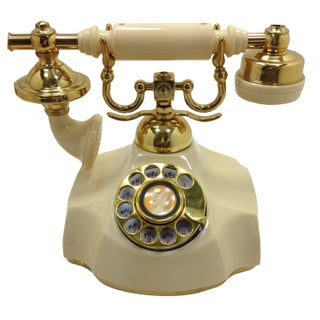 Beautiful 1972 Ivory Rotary Dial Cradle Phone