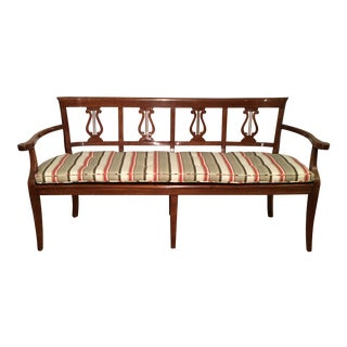 Paul Ferrante Italian Country Fruitwood Settee w Cane Seat & Lair Back