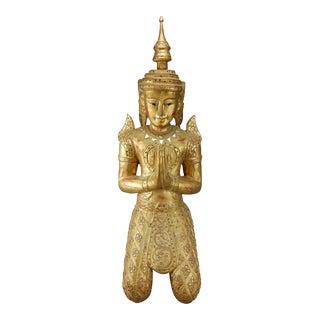 Teppanom Gilt Wood Kneeling Thai Buddhist Gatekeeper Angel