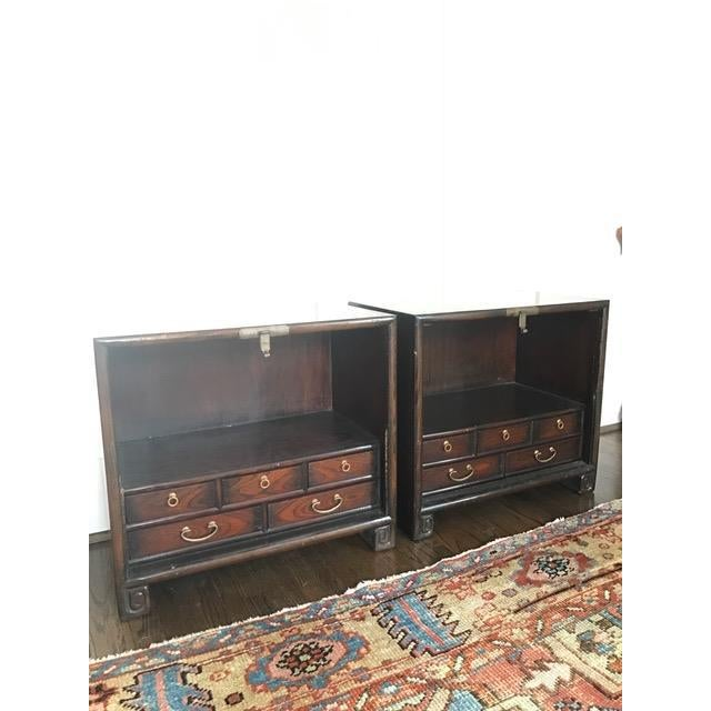 Brass Hardware Chinese Nightstands - A Pair - Image 6 of 10