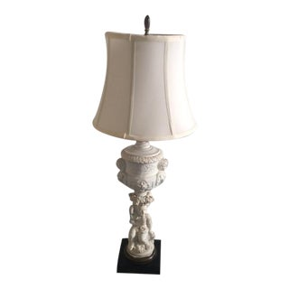 Hollywood Regency Putti Lamp With Silk Shade