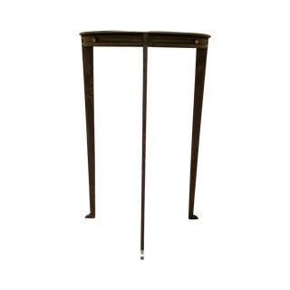 Gun Metal Silver Transitional Demilune Side Table
