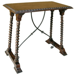 Carved Italian Walnut & Iron Side Table by Randy Esada Designs