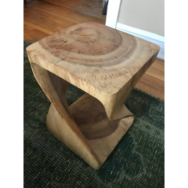 Image of Twisting Natural Wood Stool