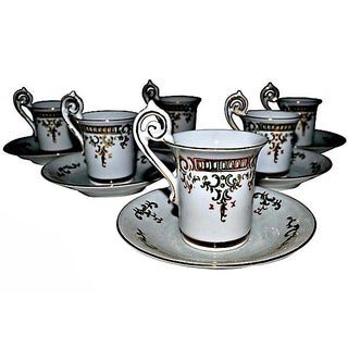 Porcelain Coffee Cups & Saucers - Set of 6