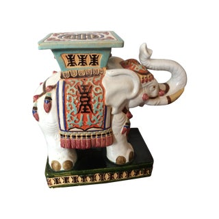 Vintage Asian Elephant Garden Stool or Side Table