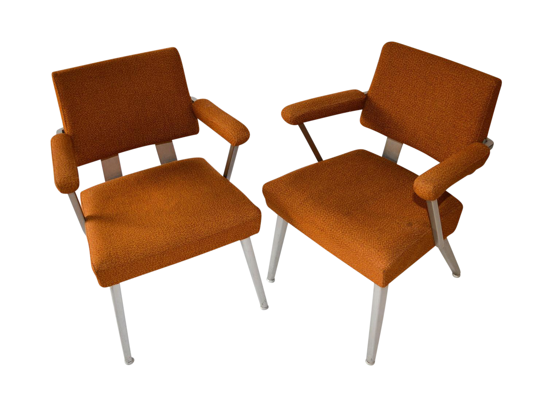 pair mid century modern general good form aluminum arm chairs retro