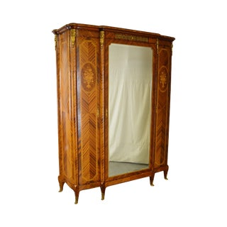 Antique 19th Century French Louis XV Style Marquetry Inlaid Mirror Door Armoire