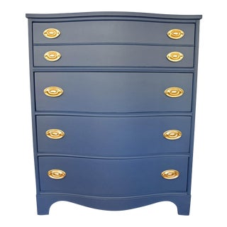 Bassett Serpentine Navy-Gold Highboy Dresser