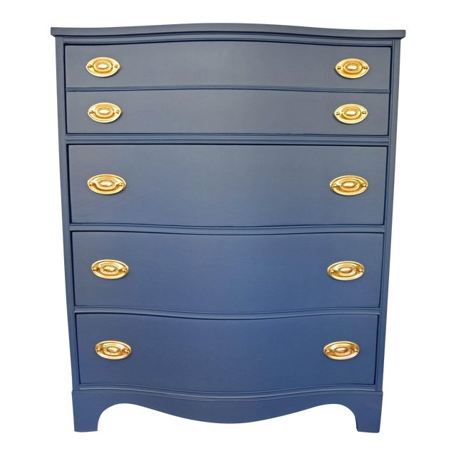 Bassett Serpentine Navy-Gold Highboy Dresser - Image 1 of 11