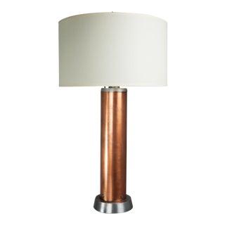Circa 1940's Machine Age Copper & Steel Table Lamp