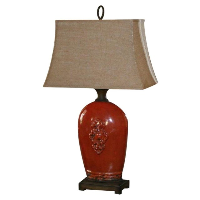 Large Tuscan Red Table Lamp - Image 1 of 10