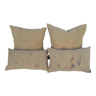 Industrial Patched Grain Sack Pillows