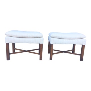 Mid-Century White Upholstered Stools - A Pair