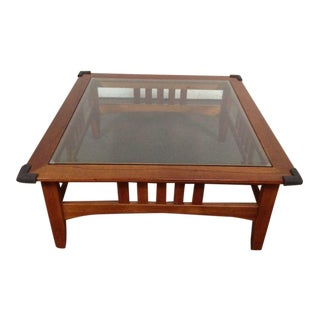 Arts and Crafts Style Contemporary Carved Maple Glass Top Coffee Table