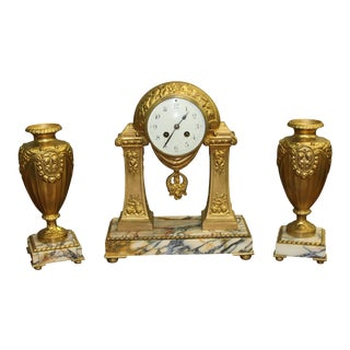 French Art Deco Gilt Clock Garniture Set Signed G Limousin Circa 1940s.