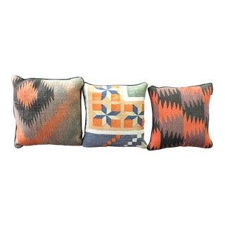 Vintage Kilim Throw Pillows - Set of 3