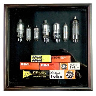 TV & Component Vacuum Tubes Mid-20th With Original Boxes. Display As Sculpture In Shadow Box