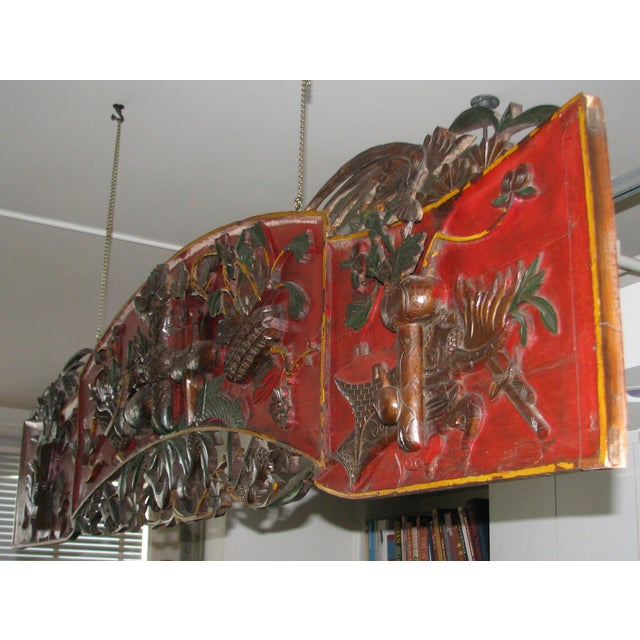 Image of Antique Chinese Ornate Hand-Carved Headboard