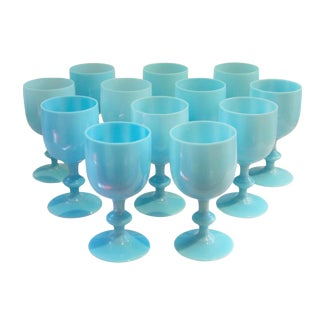 Vintage French Blue Opaline Wine Glasses - Set of 12