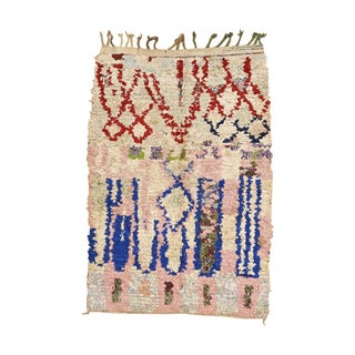 "Pink, Red & Blue Boucherouite Rug - 3' 4"" x 5' 4"""