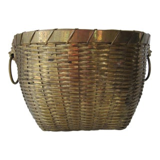 Vintage Brass Woven Basket
