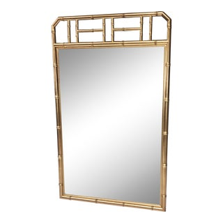 Hollywood Regency Faux Bamboo Gold Wall Mirror