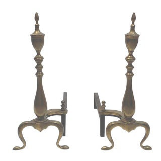 Federal Brass Fireplace Andirons - A Pair