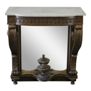 20th Century Giltwood White Marble Top & Mirrored Back Console