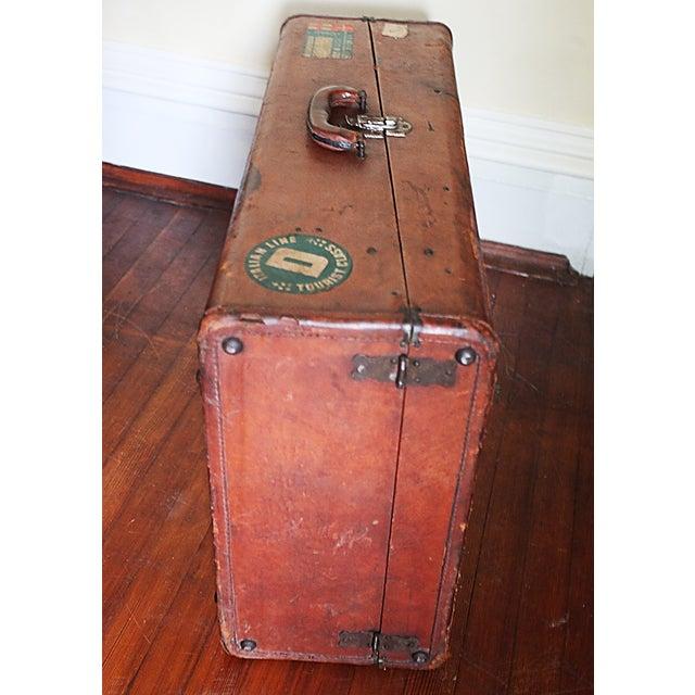 Vintage Worn Leather Suitcase - Image 2 of 8