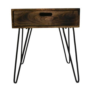 Natural Burnt Mango Wood and Iron Accent Table