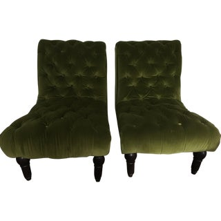 Vintage Green Tufted Slipper Chairs - Pair