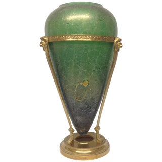 Monumental Murano Glass Green Corroso Vase
