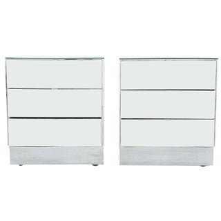 Mirrored Glass Nightstands - A Pair