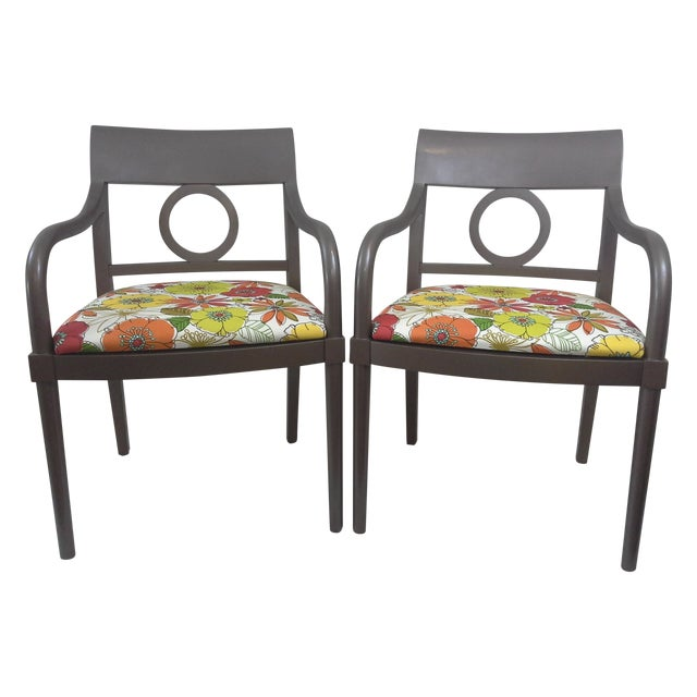 Edward Axel Roffman Floral Chairs - A Pair - Image 1 of 5