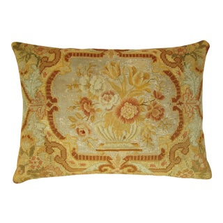 French Antique 1850s Romantic Floral Needlepoint Pillow