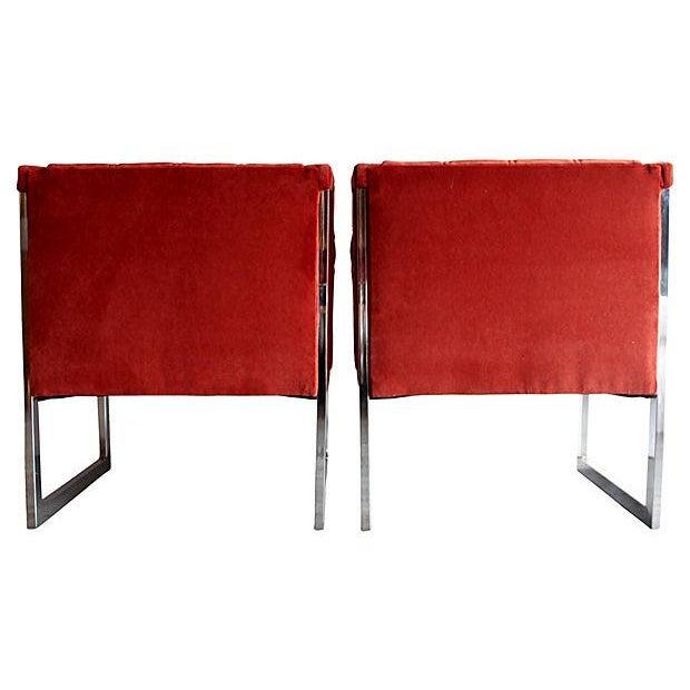 Mid-Century Milo Baughman Style Chairs - Pair - Image 7 of 10
