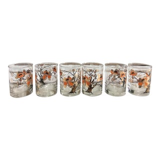 Vintage Culver Asian Lotus Tree Lowball Glasses - Set of 6