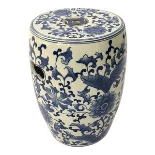 Ceramic Blue & White Garden Stool