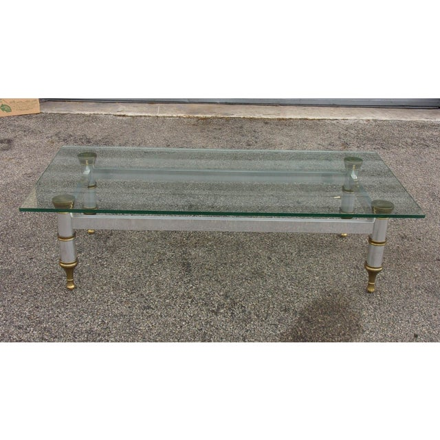 Mid-Century Aluminum & Brass Coffee Table - Image 2 of 11