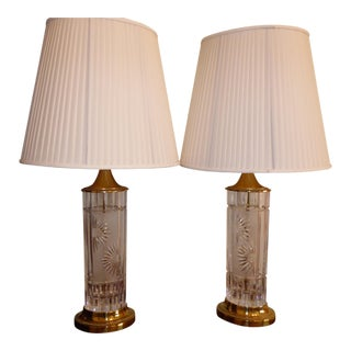 Dresden Cut Crystal Table Lamps- A Pair