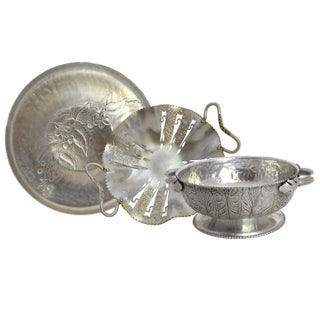 Vintage Aluminum Hand Wrought Decorative Dishes